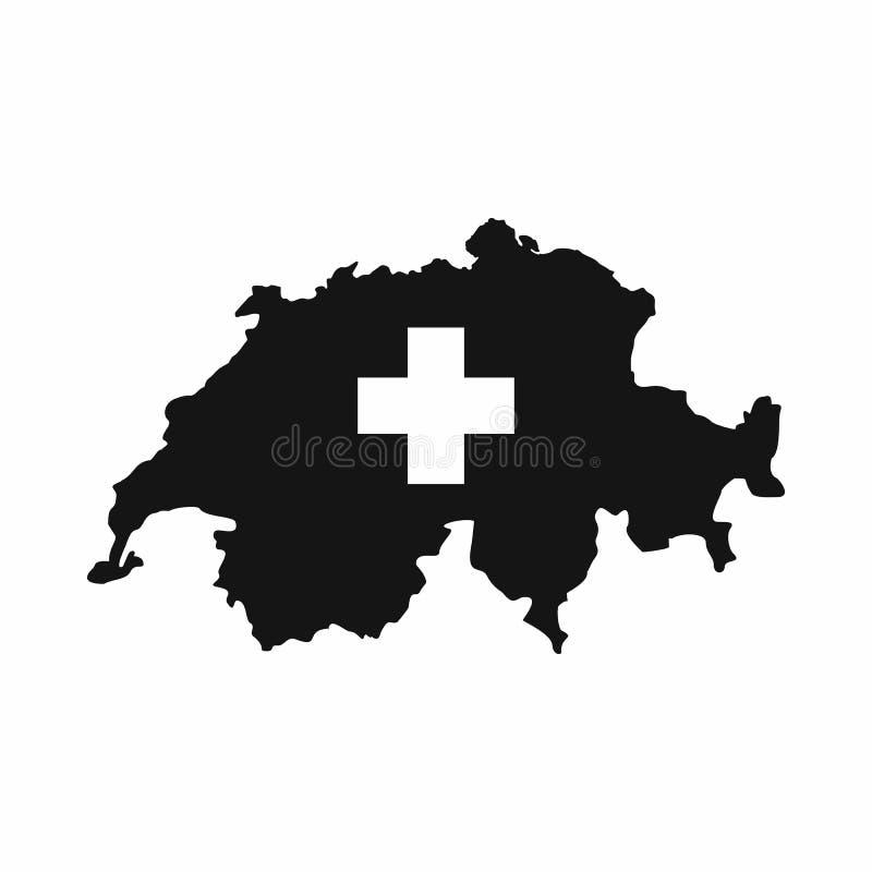 瑞士地图象,简单的样式 皇族释放例证
