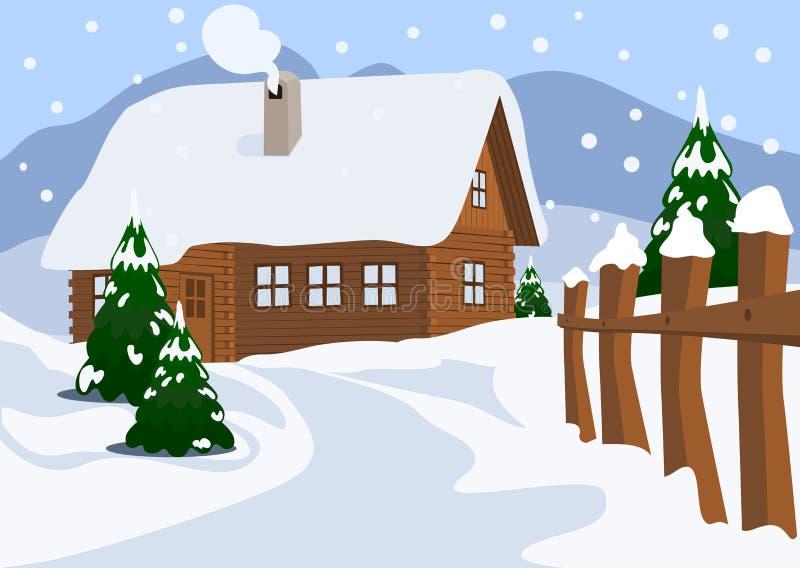 瑞士山中的牧人小屋在冬天 皇族释放例证