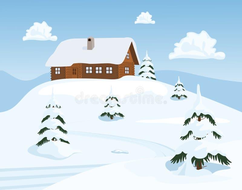 瑞士山中的牧人小屋在冬天 库存例证