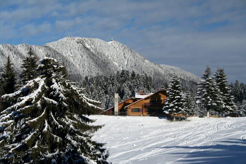 瑞士山中的牧人小屋山 图库摄影