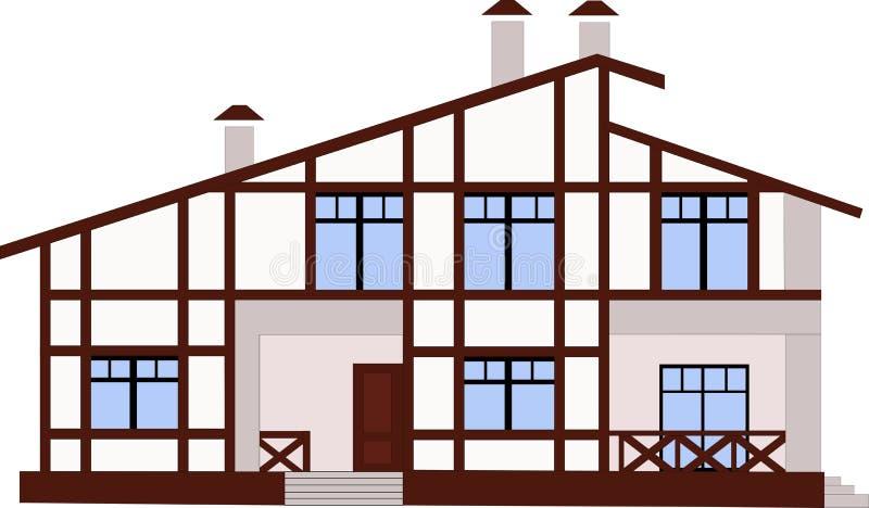 瑞士山中的牧人小屋样式的山房子 免版税库存图片