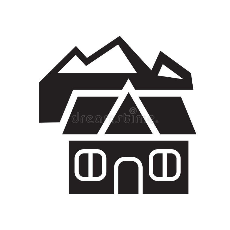 瑞士山中的牧人小屋象 在白色背景的时髦瑞士山中的牧人小屋商标概念从 皇族释放例证