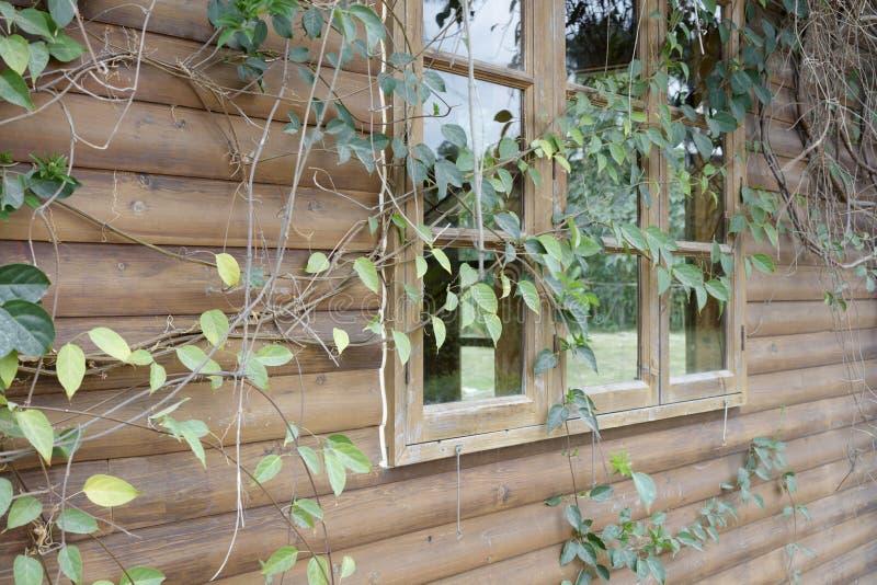 瑞士山中的牧人小屋,多孔黏土rgb老玻璃窗  图库摄影