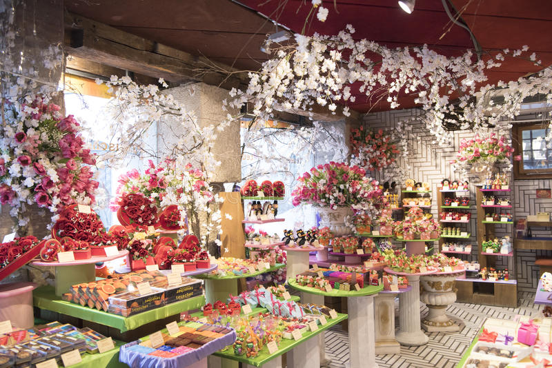 瑞士巧克力商店 免版税库存图片