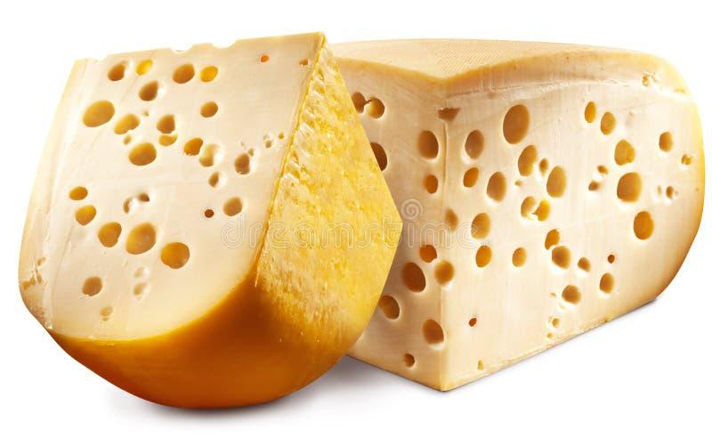 瑞士干酪乳酪头两个片断。 免版税库存图片