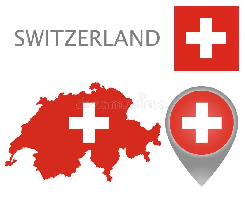 瑞士旗子、地图和地图尖 皇族释放例证