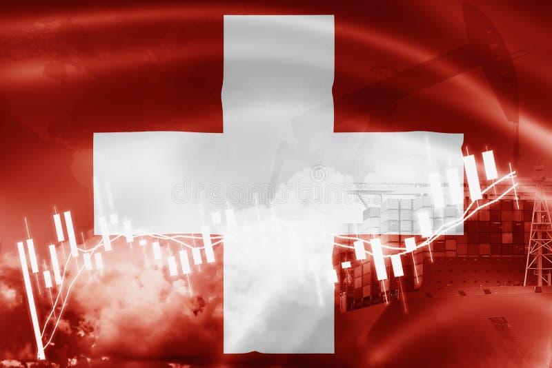 瑞士旗子、股票市场、交换经济和贸易,石油生产,在出口和进口业的集装箱船和 库存例证