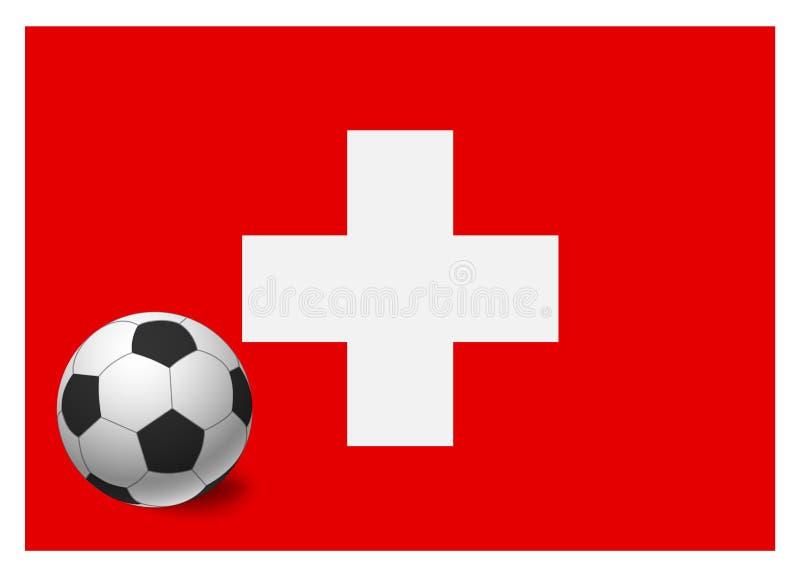 瑞士旗子和足球 皇族释放例证