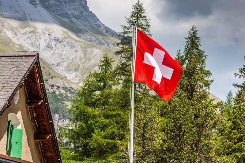 瑞士旗子-瑞士的国家标志有阿尔卑斯的backgro的 免版税图库摄影
