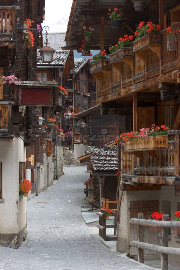 瑞士村庄 免版税库存照片