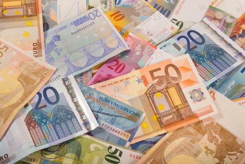 瑞士法郎和欧洲钞票 免版税库存图片