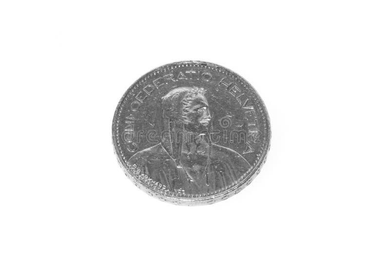 5瑞士法郎在白色隔绝的硬币 图库摄影