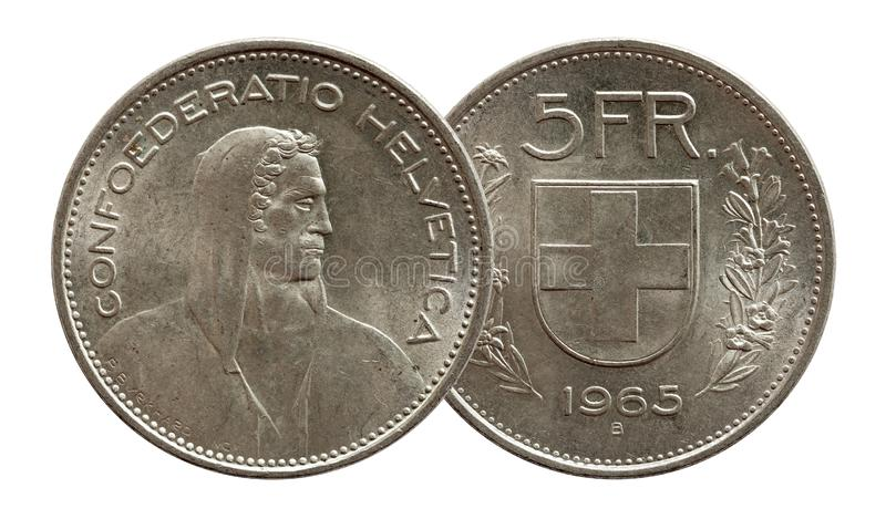 瑞士瑞士硬币5五在白色背景隔绝的法郎1965银 免版税库存照片