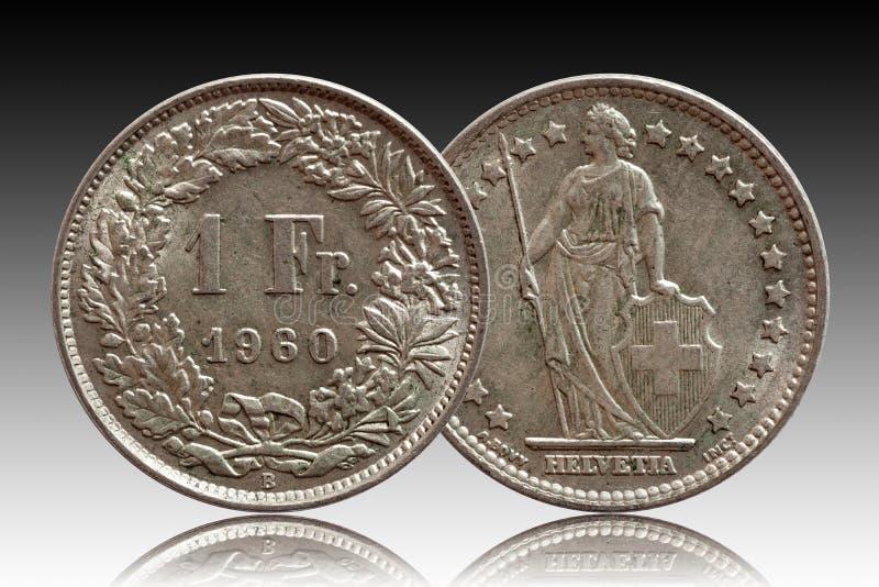 瑞士瑞士硬币1在梯度背景隔绝的一法郎1960银色 库存图片