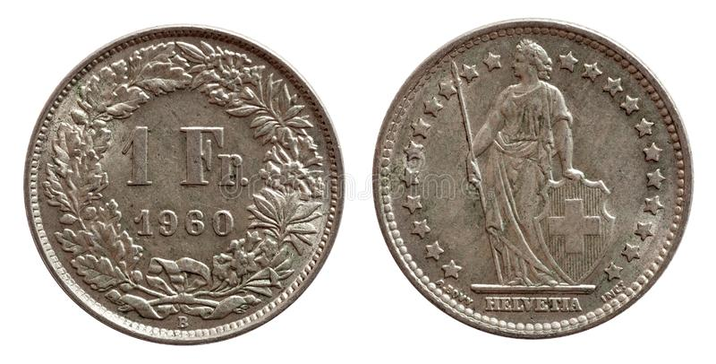 瑞士瑞士硬币1在白色背景隔绝的一法郎1968银 库存图片