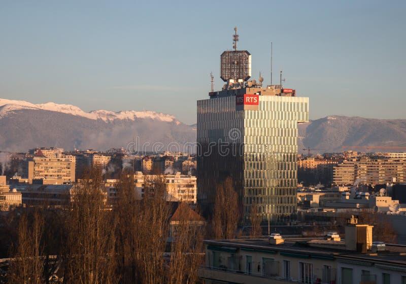 瑞士电视和无线电RTS在日内瓦总部设 库存图片