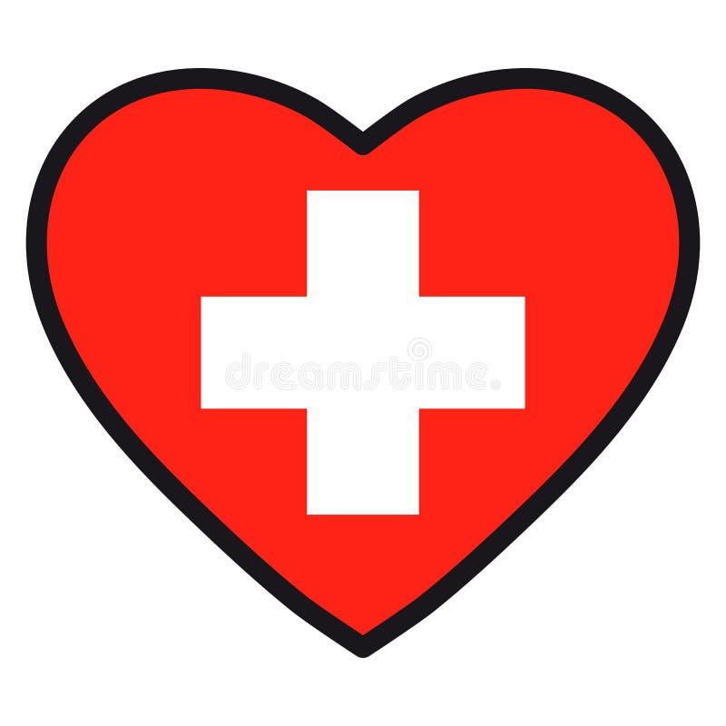瑞士的旗子以心脏的形式与不同的葡萄牙币 皇族释放例证