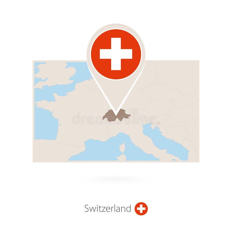 瑞士的长方形地图有瑞士的别针象的 库存例证