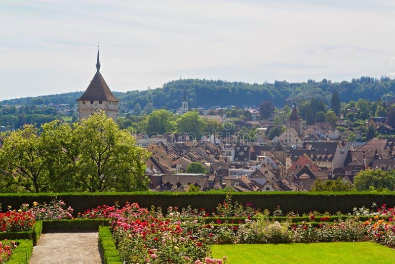 瑞士苏黎世附近的阿劳村 库存照片