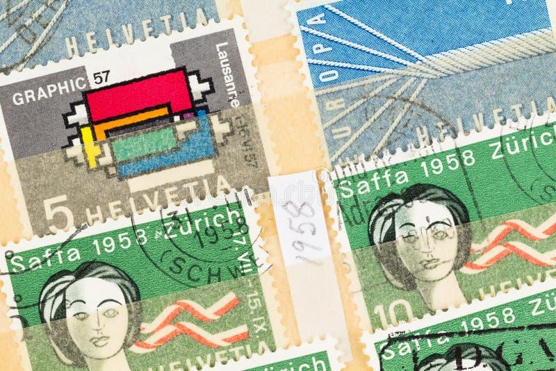 瑞士邮票从1958年平展放置紧密  免版税库存照片