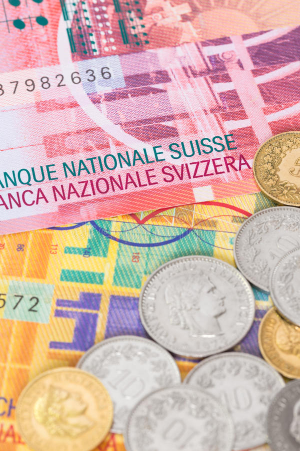 瑞士金钱瑞士法郎钞票和硬币 免版税库存图片