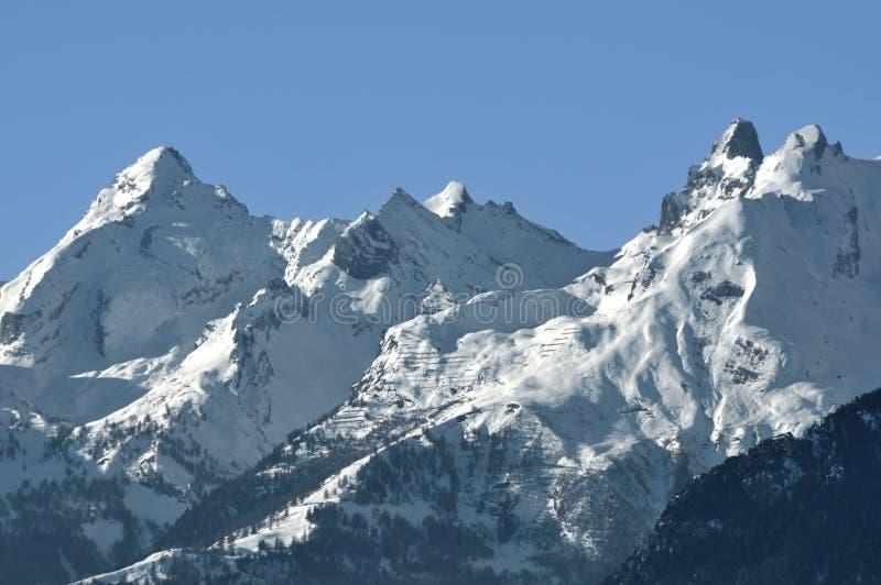 瑞士阿尔卑斯的muverans 库存照片