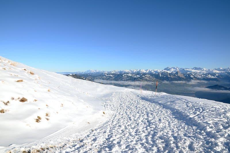 瑞士阿尔卑斯看法从瑞吉峰Kulm的在冬天,卢赛恩 库存图片