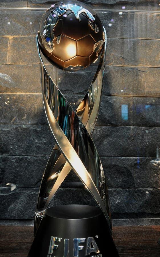 瑞士:其中一件国际足球联合会橄榄球战利品被陈列在 库存图片