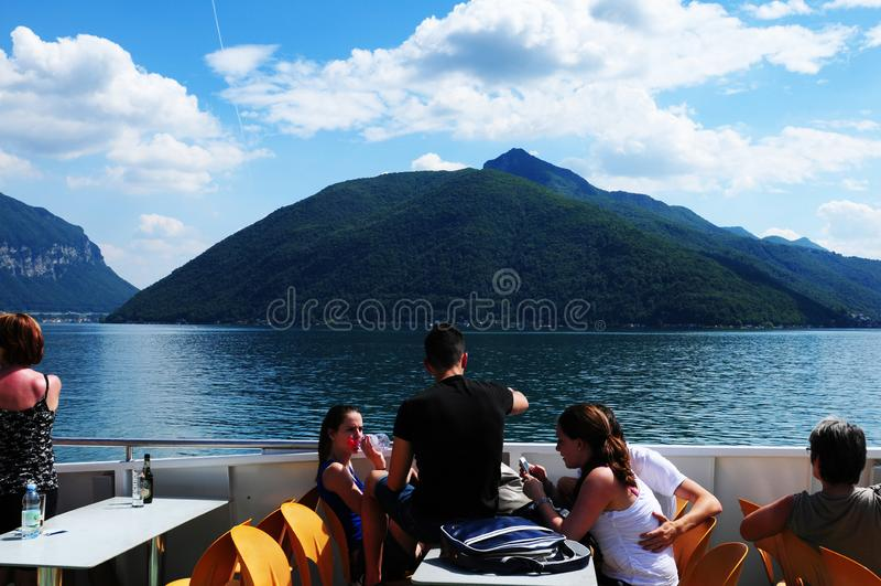 瑞士:在卢加诺湖的巡航在提契诺州 免版税库存照片