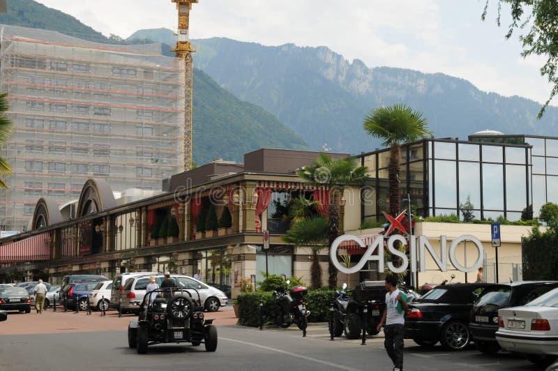 瑞士:赌博娱乐场在莱芒湖的蒙特勒 免版税库存照片