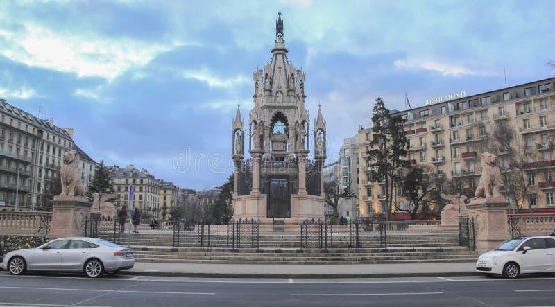 瑞士;日内瓦;2018年3月9日;布朗斯维克纪念碑;Brunswic 免版税库存照片