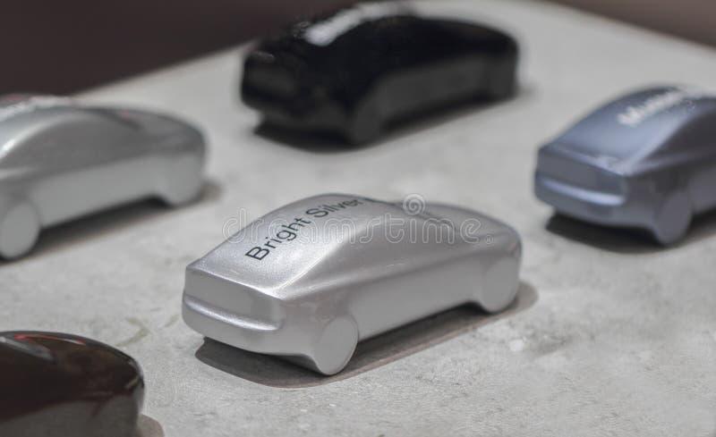 瑞士;日内瓦;2018年3月8日;显示明亮的sil的汽车模型 库存照片