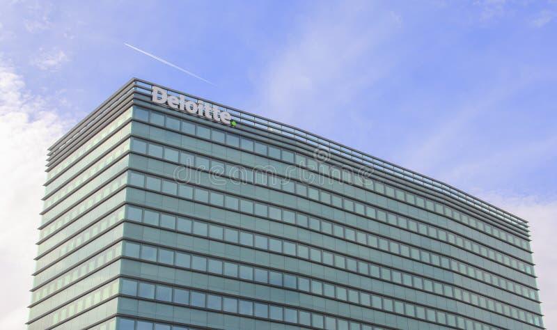 瑞士;日内瓦;2018年3月9日;Deloitte大厦在日内瓦; 图库摄影