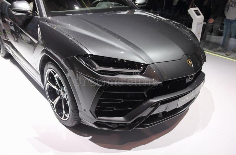 瑞士;日内瓦;2018年3月8日;Lamborghini长角野牛SUV汽车为 免版税库存照片