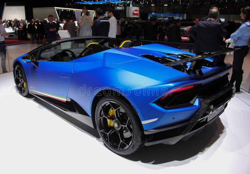 瑞士;日内瓦;2018年3月8日;Lamborghini Huracan Performa 免版税图库摄影