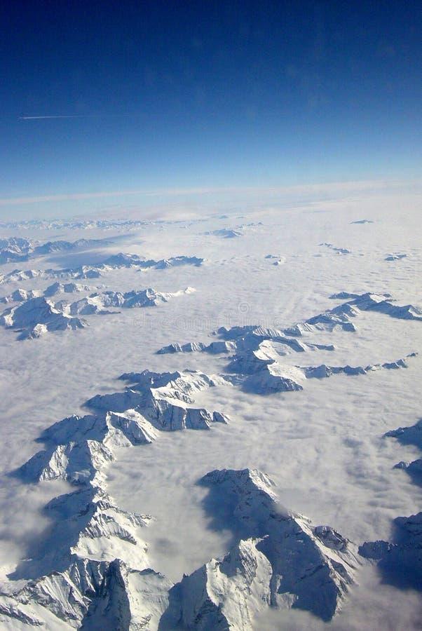 瑞士3航空的阿尔卑斯 图库摄影