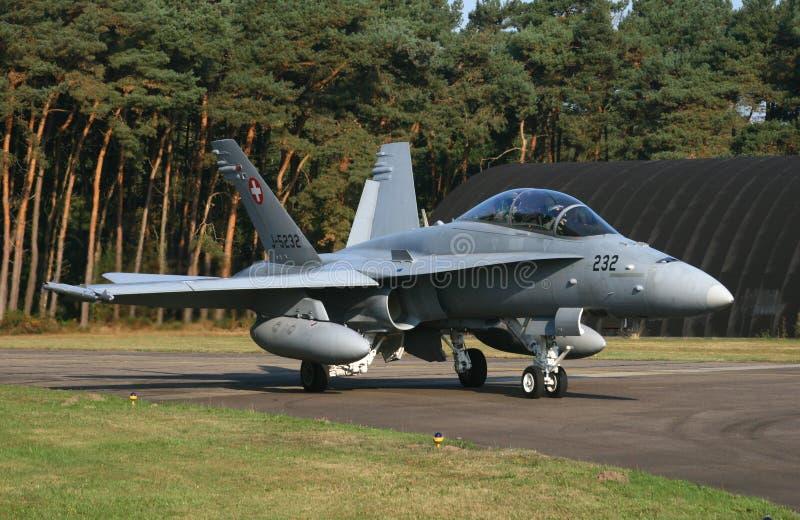 瑞士F -18大黄蜂 免版税库存照片