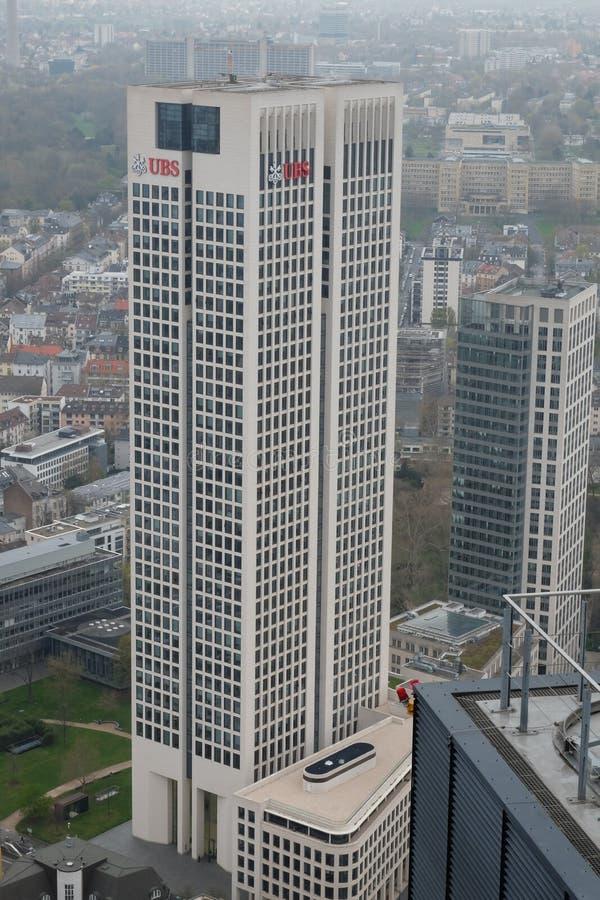 瑞银欧洲总部在法兰克福耸立 免版税库存图片