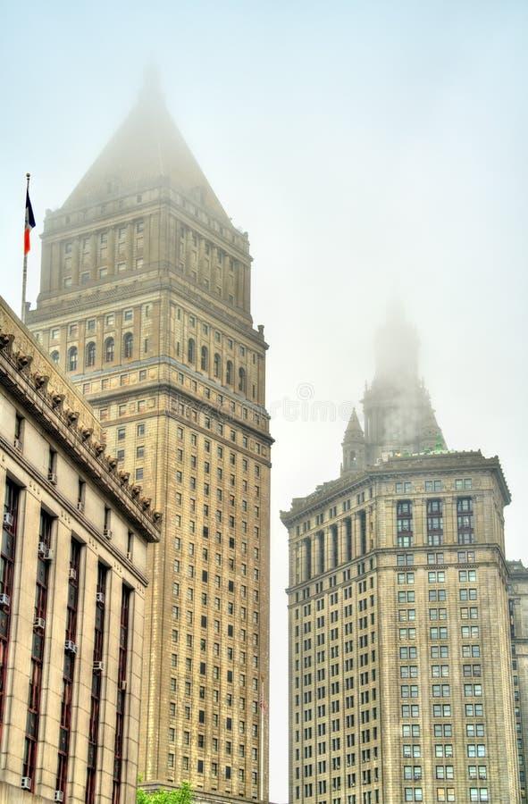 瑟古德・马歇尔美国法院大楼和曼哈顿市政大厦在纽约 免版税库存图片