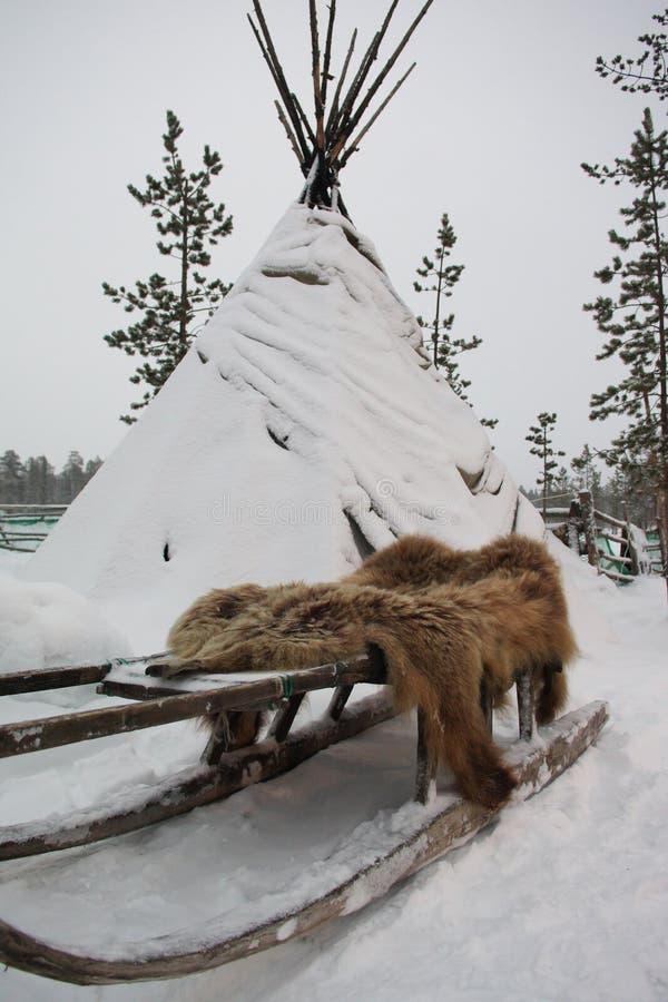瑟米帐篷、爬犁和熊皮 免版税库存照片