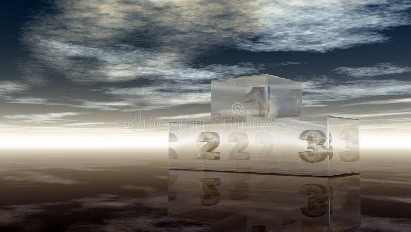 玻璃优胜者指挥台在多云天空下 向量例证