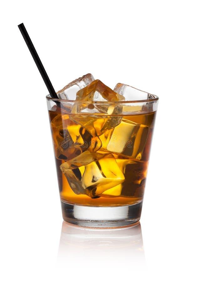 玻璃冰苏格兰威士忌酒 免版税图库摄影
