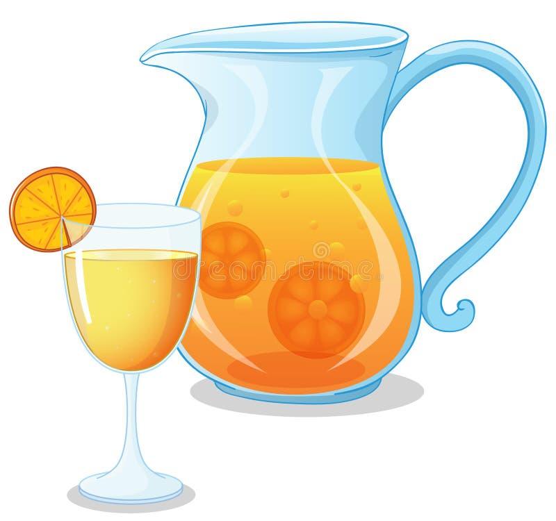 玻璃和一个投手汁液 库存例证