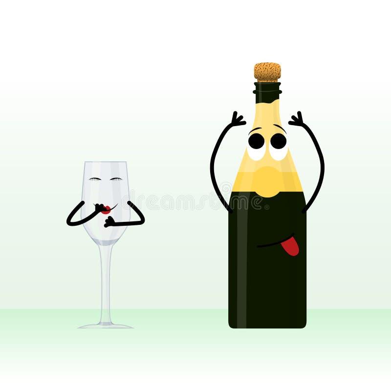 玻璃和一个瓶与提示的香槟等待的假日例证 向量例证