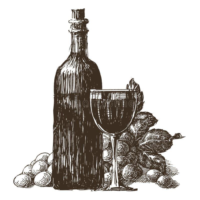 玻璃和瓶在白色背景的酒 库存例证
