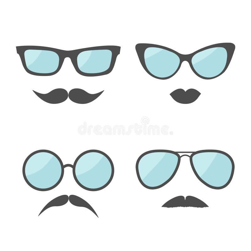 玻璃和髭嘴唇髭面孔象集合 奶油被装载的饼干 平的设计 皇族释放例证