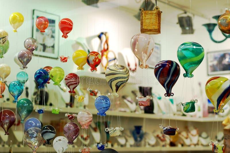 玻璃商店的vitrine, Murano,意大利 免版税库存照片