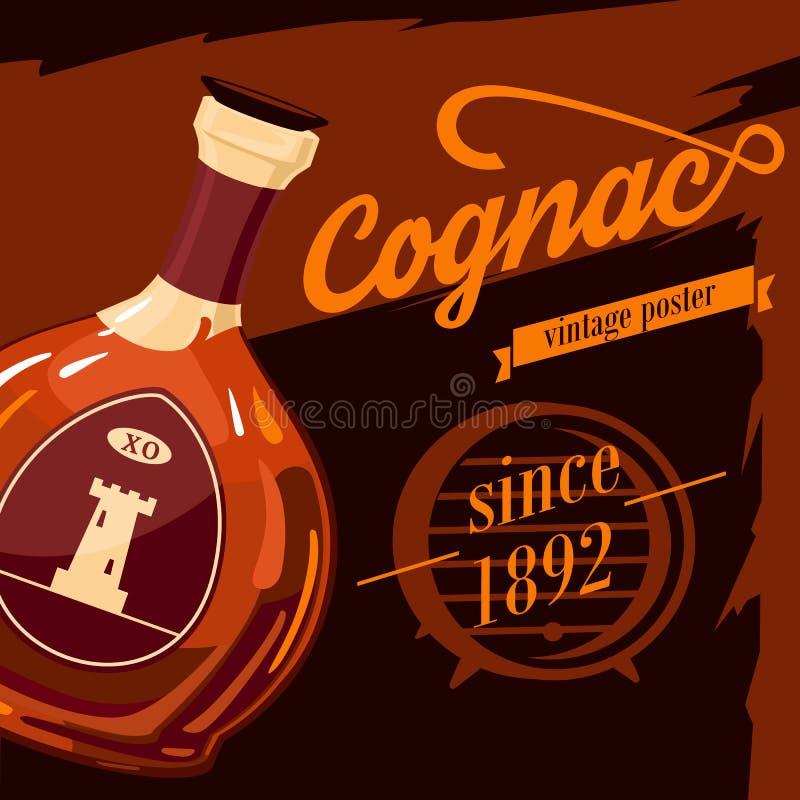 玻璃器皿瓶科涅克白兰地葡萄酒海报 向量例证
