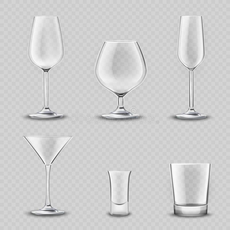 玻璃器皿透明集合 库存例证