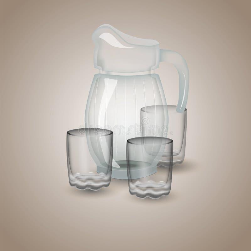 玻璃器皿,水罐,玻璃,杯子 装饰家庭项目 库存例证